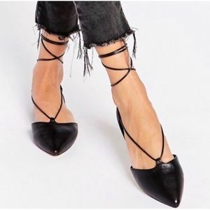 Aldo Colyn Black Ghillie Tie Up Ballet Style Flats